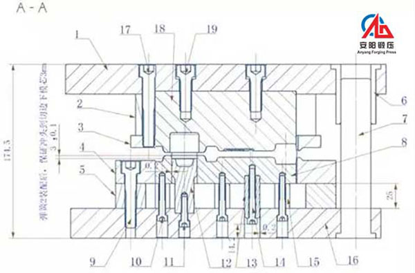 Assembly profile of compound trimming die of connecting rod forging